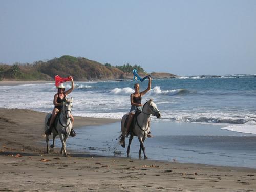 Equestrians are thrilled from the ride in the surf. / Pferdefreunde sind begeistert davon in den Wellen zu reiten.